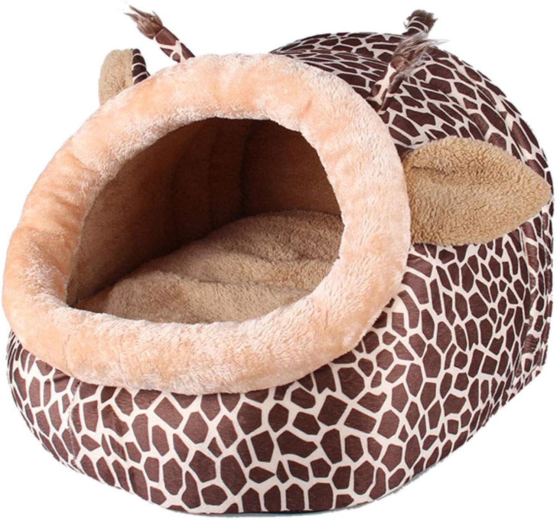 FidgetGear Pet Dog Warm Giraffe Bed Cave House Kennel Puppy Dog Cat House Kennel Igloo Mat M