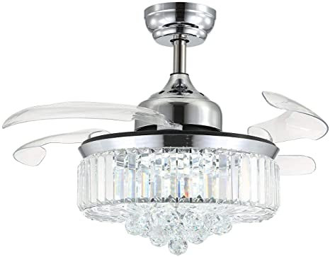 Amazon Com Moooni Dimmable Fandelier Crystal Ceiling Fans With Lights And Remote Modern Invisible Retractable Chandelier Fan Led Ceiling Fan Light Kit Polished Chrome 36 Inches Kitchen Dining
