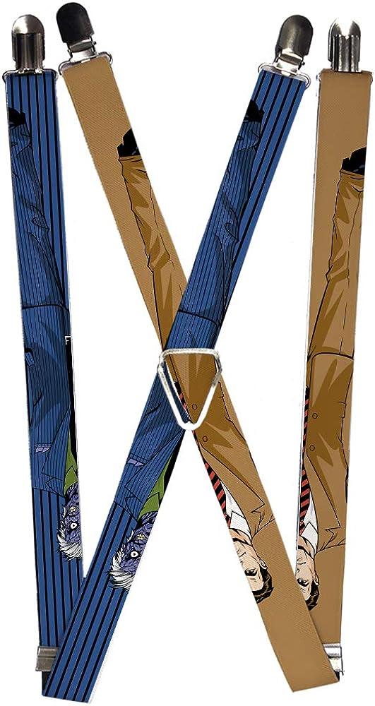 Suspenders Split Poses Harvey Dent Brown Two-Face Pinstripe Blue Black 1.0 Inch Wide