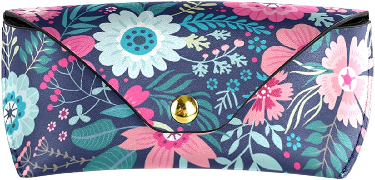 Goggles Bag Floral Flowers Spring Portable PU Leather Sunglasses Case Eyeglasses Pouch Travel Multiuse