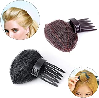 Insert comb Front Hair Bangs Bumpit Bump Up Volumn Increase Styling Pin Clip Back Beehive Hair Tool Insert Tool with hair booster cushion for women girl Fluffy Hair Styling Accessories (Brown+Black)
