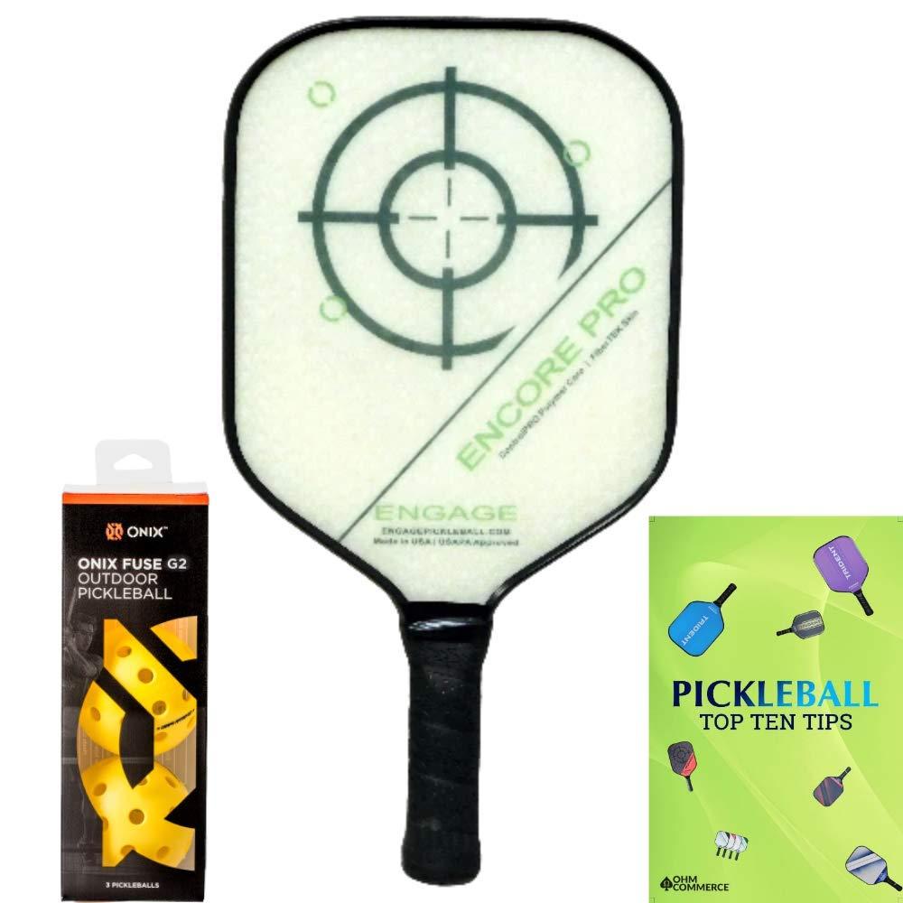 Engage Encore Pro Pickleball Paddle & Onix 3-Pack Fuse -26W7