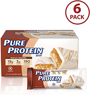 Pure Protein Bars, High Protein, Nutritious Snacks to Support Energy, Low Sugar, Gluten Free, Maple Caramel, 1.76oz, 6 Pack