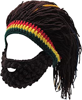 Funny Knit Beanie Beard Hat Rasta Hat with Dreadlocks Handmade Wig Fancy Halloween Caps