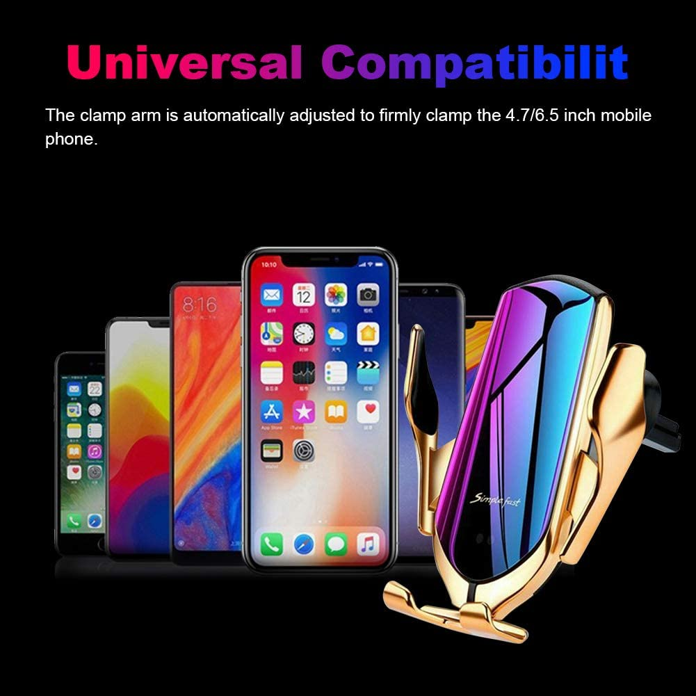 Qi Wireless Car Charger Auto-Clamping Car Air Vent//Windshield Phone Mount Compatible with Samsung S10//S10+//Note 9//s9//s9+//s8//s8+//Note 8,iPhone 8//8+//X//XS//XR 10W Fast Charging Phone Holder