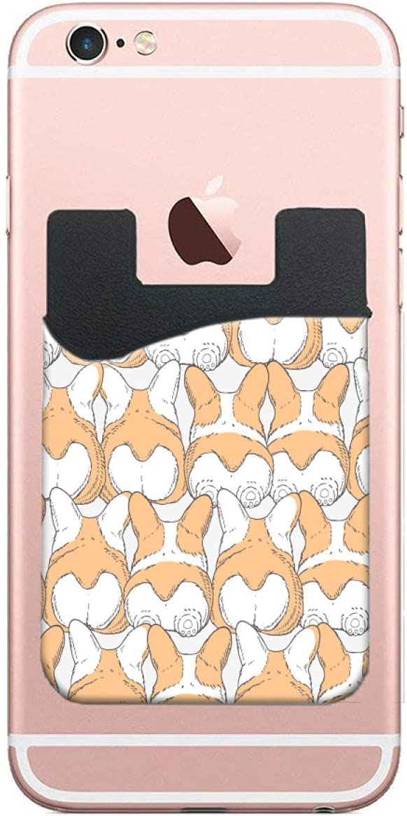 ZXZNC Card Holder for Back of Phone Cartoon FUUNY Corgi Dogs Butt Leather Phone Pocket Phone Case Credit Debit Id Card Holder Sleeve Adhesive Stick On Wallet for Back of Cell Mobile Smart Phone