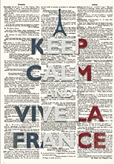 Keep Calm and Vive La France Vintage Dictionary Artwork Notebook: 7x10 Inch Ruled Notebook with Dictionary Art with French Tricolour Flag Cover
