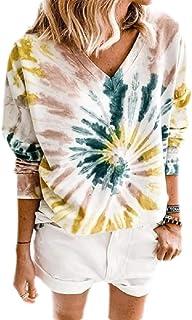 Loyomobak Women Tie Dye Print Fashion Tops V Neck Long Sleeve T-shirt Blouse