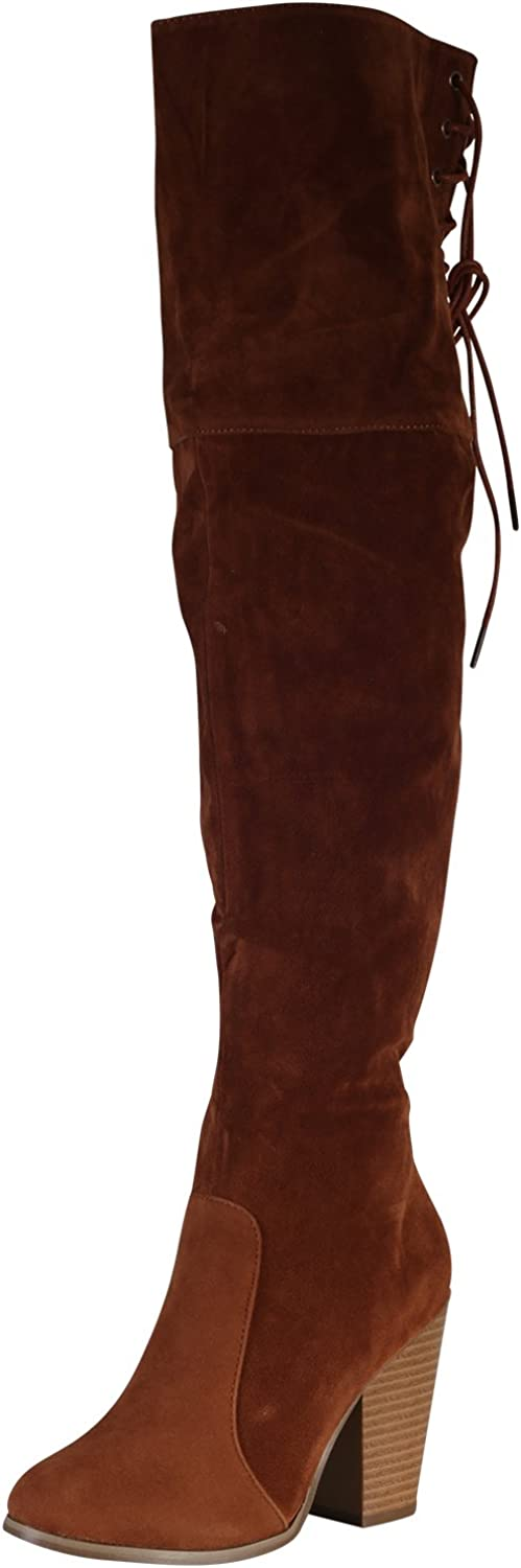 Women's Over The Knee Thigh High Suede Chunky Heel Boot