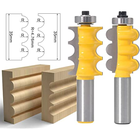 """2pc 1//2/"""" Shank Bead/&Triple Flute Router Bits 2 Molding Woodcutting Cutting Tools"""