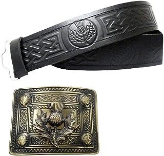 Black Genuine Plain Leather Kilt Belt Embossed Thistle Buckles various design