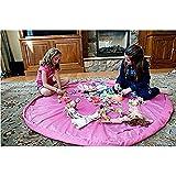 Estera de juego para niños BigNoseDeer bebé plegable de almacenamiento de juguetes bolsa de niños de alfombrilla niño organizador de 60 pulgadas (150 cm) (Rosa)