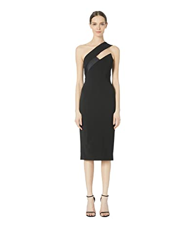 Cushnie One Shoulder Pencil Dress with Asymmetrical Charme (Black) Women