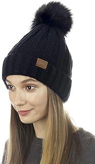 Cloie Trendy Chunky Soft Stretch Cable Knit Beanie Skully Hat with Warm Fleece Lining & Pom Pom