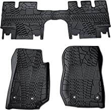 TURBO SII Custom Fit Floor Mats Heavy Duty Rubber Floor Mats Compatible for Jeep Wrangler JK 2014-2018 - 3 Piece (Front, Rear, Full Set Liners)