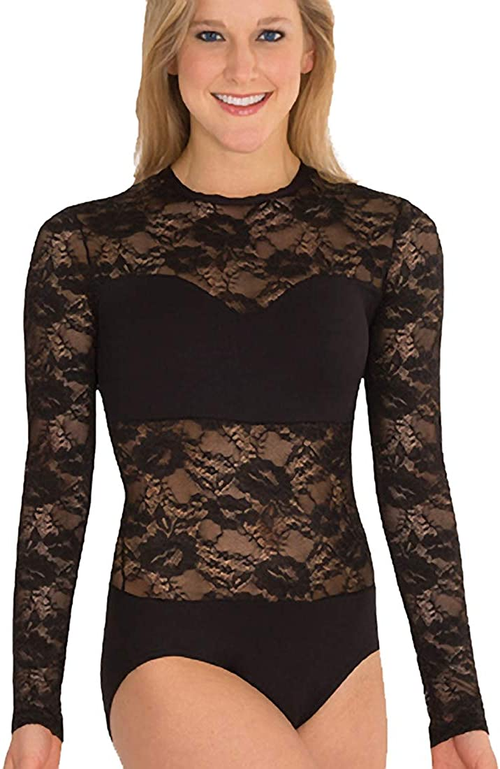 LC210 Body Wrappers Sweetheart Bandeau Lace Long Sleeve Leotard