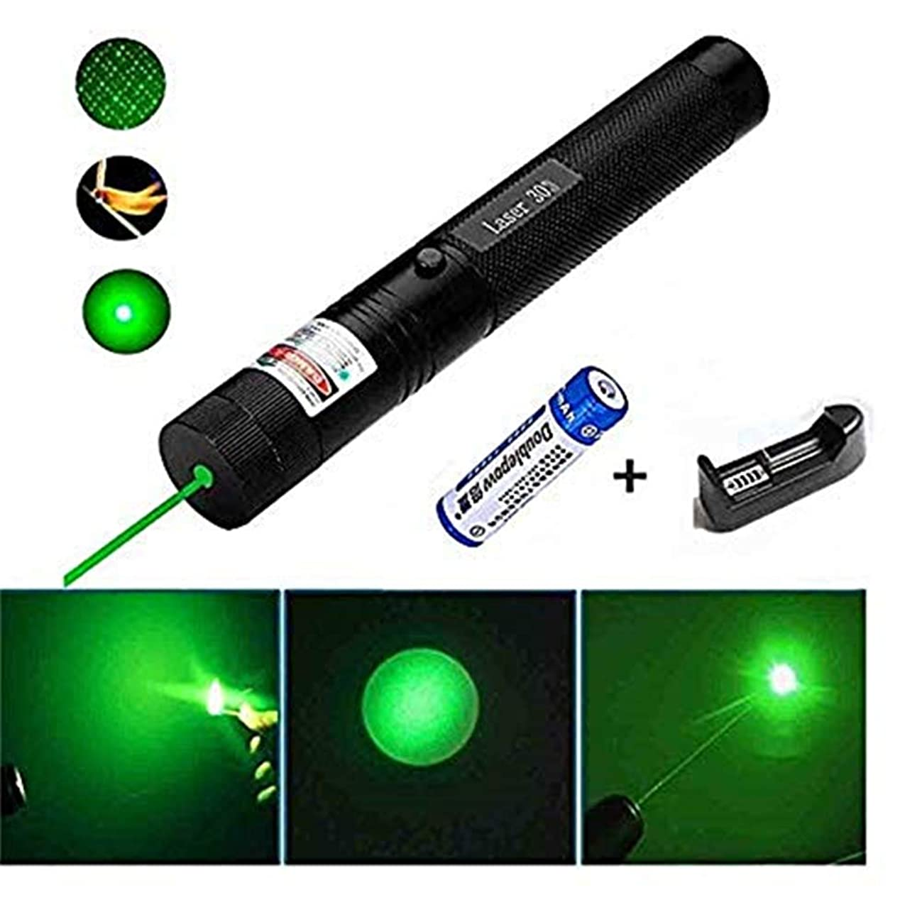 Laser Pointer Tactical Green Hunting Rifle Scope Sight Laser Pen, Demo Remote Pen Pointer Projector Travel Outdoor Flashlight, LED Interactive Baton Funny Laser Toy