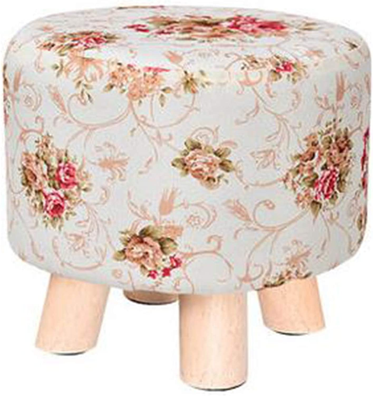 Creative Round Wooden Footstool Linen Foot Rest Stool Adult Kids Applicable, Flower
