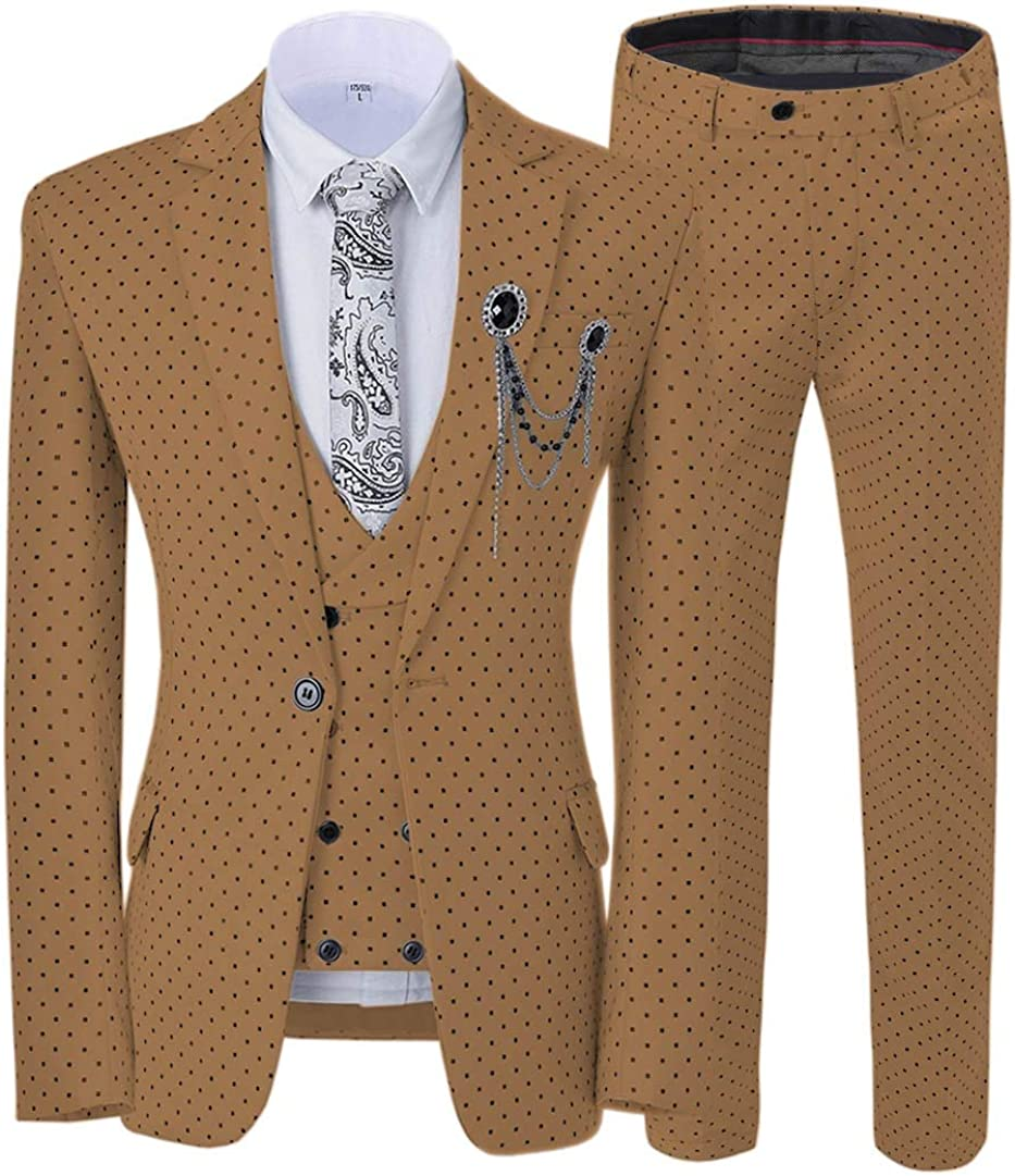 ToonySume Casual Men's Suits Slim Fit 3 Piece Prom Tuxedos Square Pattern Business Suit Wedding Grooms(48,Brown)
