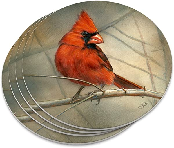 Cardinal Red Bird On Tree Branch Novelty Coaster Set