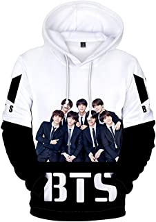Bettydom Women's Novelty Kpop BTS Hoodie Bangtan Boys Patterns Sweatshirt 3D Printed Pullover