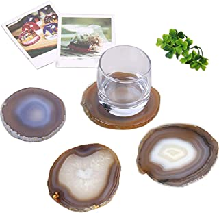 AMOYSTONE Stone Coasters for Drinks Agate Decor Coasters Set of 4 Housewarming Gift Nature Borwn 3-3.5