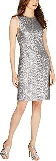 Calvin Klein Womens Metallic Sequined Sheath Dress