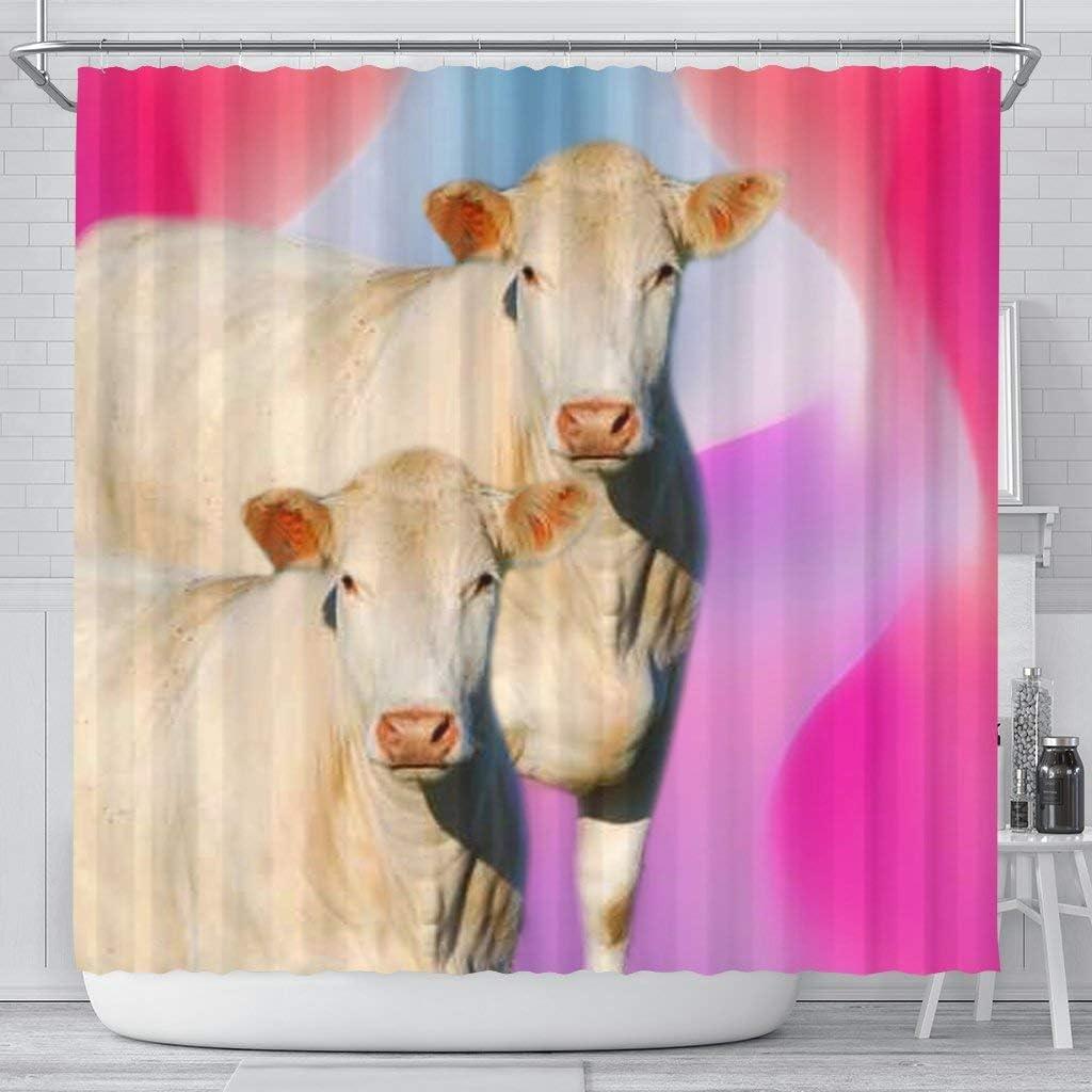 Pawlice Charolais Cattle Trust Cow Curtain Shower Save money Print
