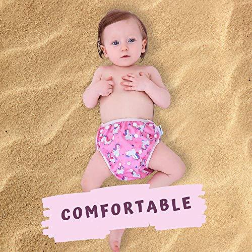 2 PCS InnoBeta Pañal de Natación, Bañador Pañal reutilizables para Bebé, pañales tela lavable para niños niñas 0-1 años(Size S), Piña Azul + Unicornio