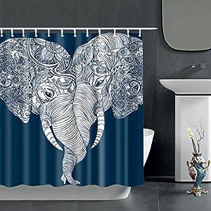 BATH & MORE Cute Bohemian Elephant Shower Curtain - Boho Style Elephant Themed Love Bathroom Curtains, Fabric, 72x72, White and Navy Blue