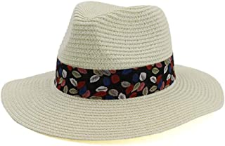 Hats and Caps Panama Hat for Women Men Men Straw Wide Brim Sun Hats Dad Lady Trilby Gangster Fedora Male Jazz Sombrero Cap (Color : Cream, Size : 56-58CM)