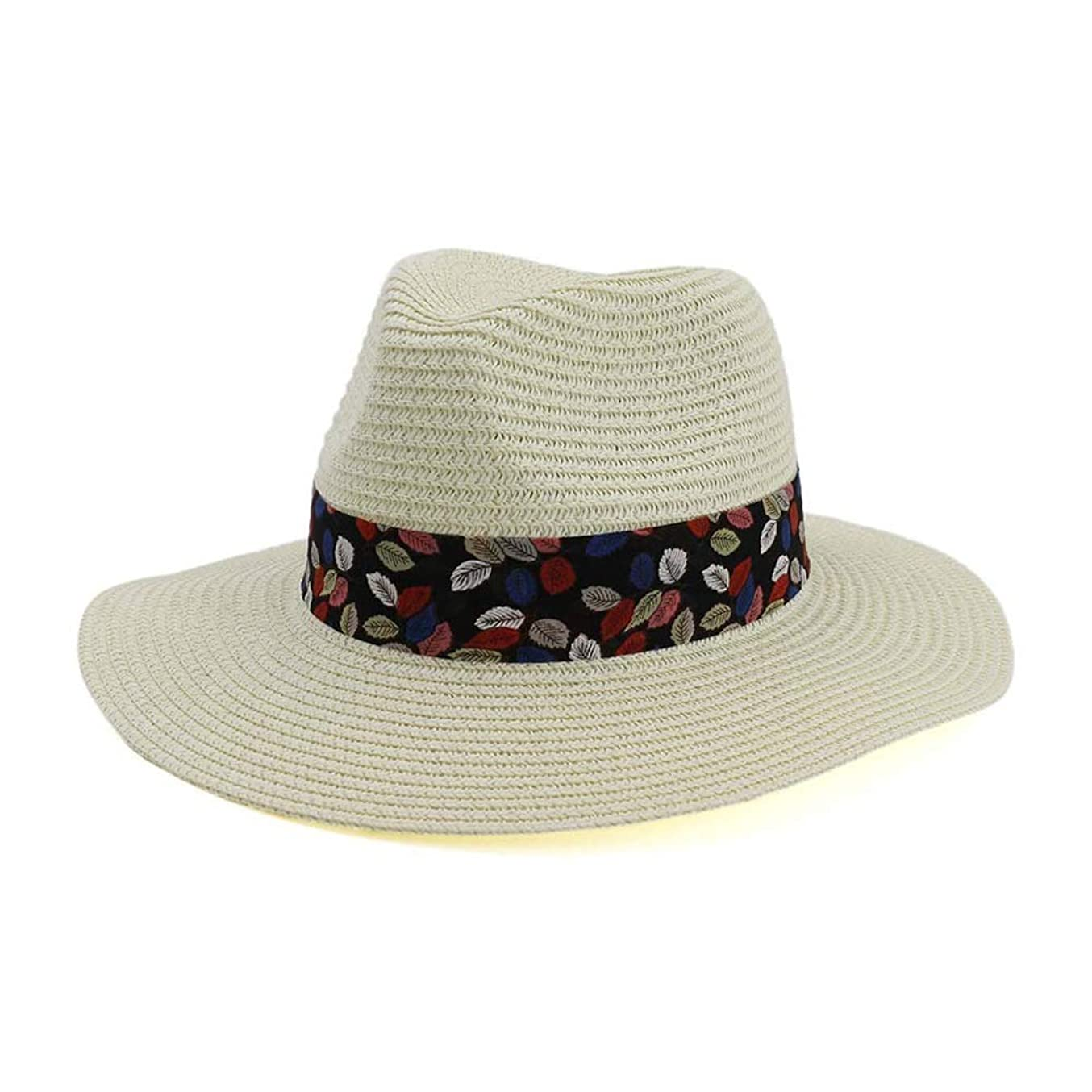 擁する撃退する中間Jieming 女性男性ファッションパナマ帽子わらワイドつばサンハットTrilbyギャングFedoraジャズソンブレロキャップ (色 : クリーム, サイズ : 56-58CM)