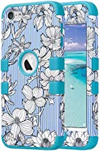 ULAK iPod Touch 7 Case, 3 in 1 Hard PC Case with Shockproof Silicone Interior Heavy Duty High Impact Dual Layer Protective Case for Apple iPod Touch 7th/6th/5th Generation, Pinstripes Flowers