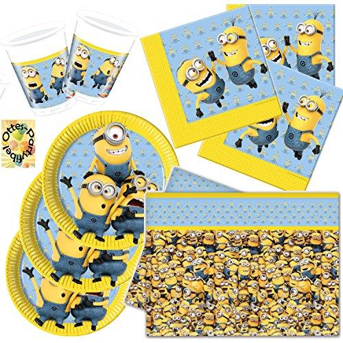 HHO Lovely Minions Partyset 37 Teile für 8 Kinder Teller Becher Servietten Tischdecke