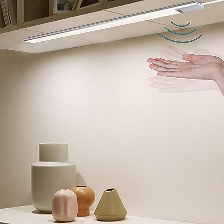 EZVALO Réglette LED Cuisine 60cm I Lampe de Placard Avec Capteur I LED Barre Sous Meuble Ultra Mince Avec Port USB, pour Armoire, Comptoir, Garde-Robe, Campeur - 4000K