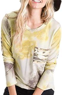 S-Fly Women's Pocket Long Sleeve Tie Dye Print Tops Crew Neck Blouse T Shirts