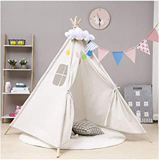 Bambi/® Tenda indiana teepee in tessuto per cameretta bambini con tappetino e 4 simpatici cuscini Tipi Dino.