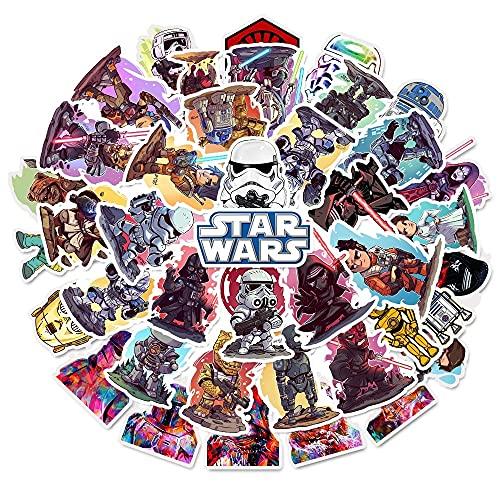 SHIHE Pegatinas de Star Wars Estilo Dibujos Animados Impermeables para niños Pegatinas monopatín Guitarra Maleta Cool Graffiti Pegatina Chico 50 Uds