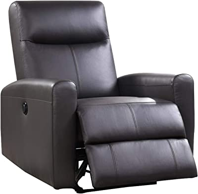 Benjara Leatherette Power Recliner with Tufted Back, Brown