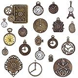 20pcs Cara del Reloj Encantos Dijes Mixtos Engranajes Reloj Steampunk Colgantes Accesorios de Estilo Retro para Manualidades Joyas Decoracion