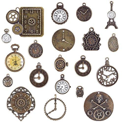 BronaGrand Steampunk Zahnräder Gothic Charms 20 Stk Mischung Antik Anhänger Charms Uhren Wecker Bronze aus Metall für Schmuck Basteln