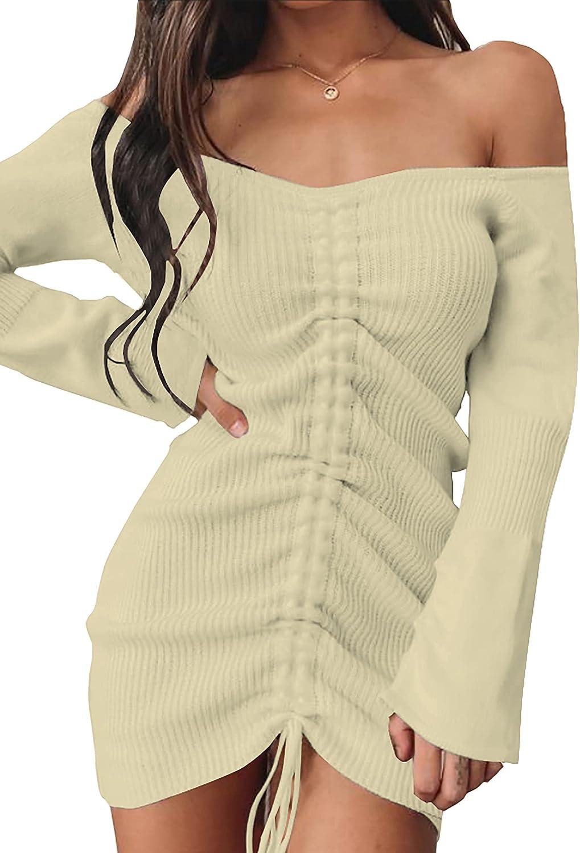 BTFBM Women Long Sleeve Off Shoulder Bodycon Ruched Dresses Casual Elegant Sweater Knit Drawstring Solid Short Mini Dress