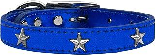 Mirage Pet Products Star Widget Genuine Metallic Leather Dog Collar, Size 10, Blue/Silver