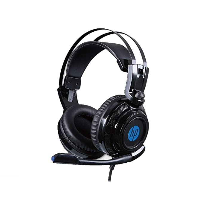 HP H200 Wired Over Ear Ergonomic Design Gaming Headset with Rotatable Mic, LED Lighting for PC  Black, 8AA04AA  Headsets