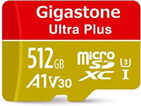 Gigastone 512GB Micro SD Card A1 V30 U3 C10 Class 10 Micro SDXC UHS-I Memory Card with MicroSD to SD Adapter High Speed 4K Ultra HD Video Camera Canon Dashcam DJI Drone Gopro Nikon Nintendo Samsung
