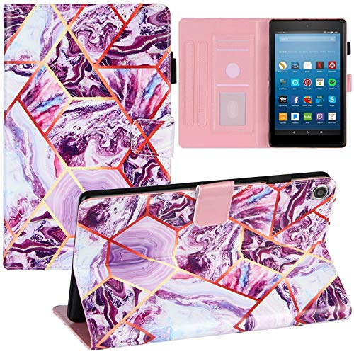 JINXIUCASE Funda de Tableta, Mármol PU de Cuero Soporte Tableta Inteligente Cubierta para Amazon Fire HD 8 2017/2018 (Color : Style F)