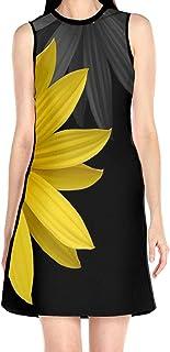 ブラックローズ 向日葵 黄色い ブラック 花柄ワンピース ワンピース レディース カジュアル 夏物 夏服 スカート おしゃれ 洋服 ファッション 流行る