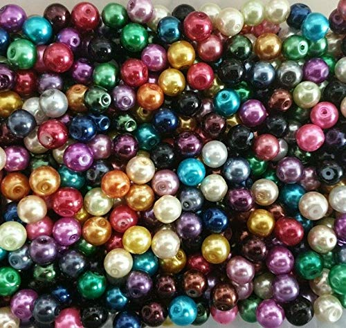 k2-accessories  200 pieces 4mm Art Pearl Beads Tiny Beads - Mixed - A0931 Multicoloured Round Beads Coloured Tiny Beads for Jewelry Making Decoration Necklace Earrings