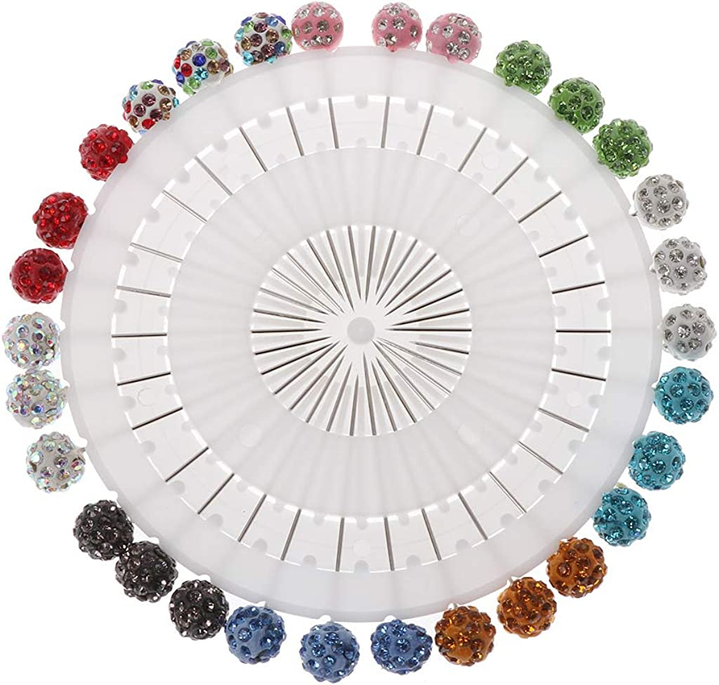 yunestry 30Pcs Safety Pin Muslim Hijab Scarf Pin Rhinestone Ball Brooch Straight Head Pin