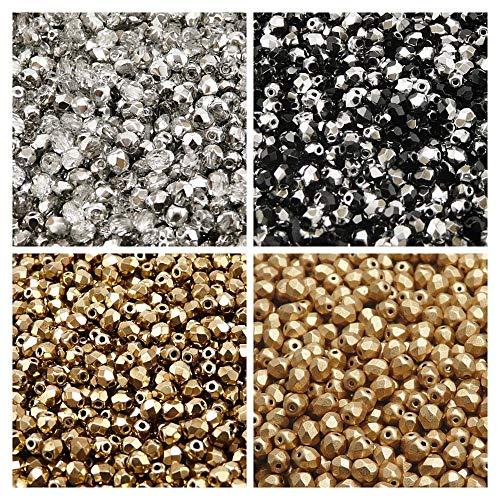 400 pcs 4 couleurs Tchèque Perles en verre Fire-Polished Rond 4mm, Set 417 (4FP007 4FP060 4FP065 4FP085)